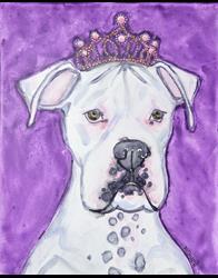 Art: Princess Boxer with Pink Tiara by Artist Melinda Dalke
