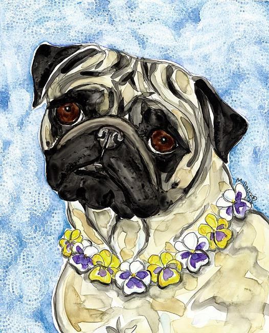 Art: Pansy Pug by Artist Melinda Dalke
