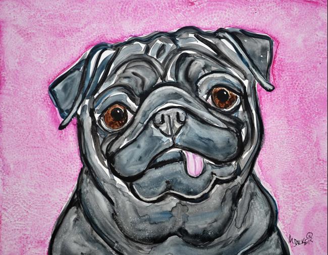Art: Impression of a Black Pug by Artist Melinda Dalke