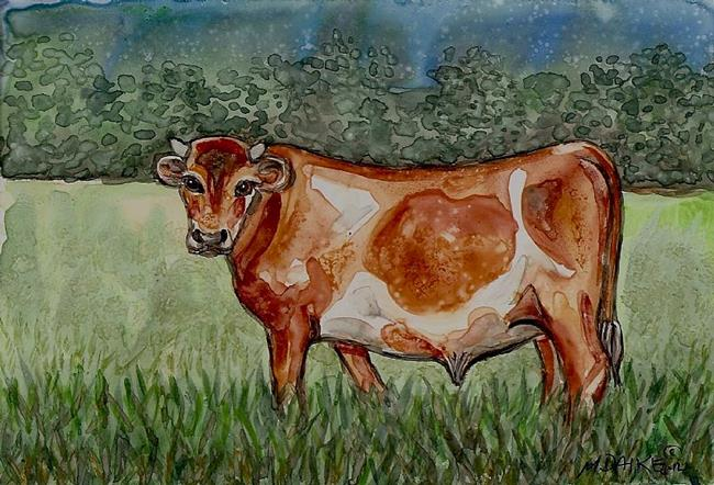 Art: Bull in Oregon Pasture 1 by Artist Melinda Dalke