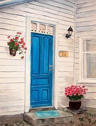 Art: Blue Door (SOLD) by Artist Jennifer Love Artwork
