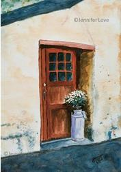 Art: Red Door in Scandinavia by Artist Jennifer Love Artwork
