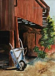Art: Wheelbarrow (SOLD) by Artist Jennifer Love Artwork