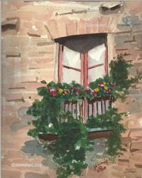 Art: Italian Window Box (SOLD) by Artist Jennifer Love Artwork