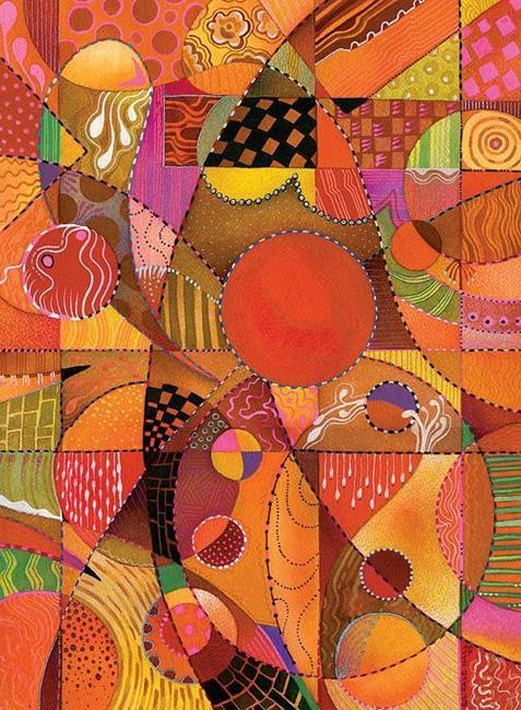 Art: Booga Booga Orange by Artist Lori Rase Hall