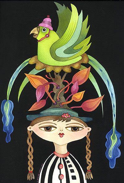 Art: Parrot Tree Hat by Artist Lori Rase Hall