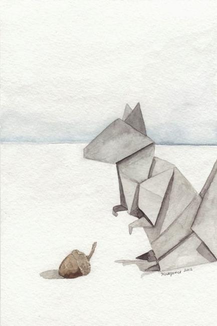 Art: Origami Squirrel by Artist Amanda Makepeace