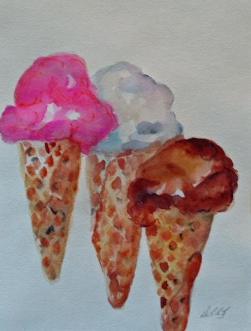 Art: Three Ice Cream Cones-sold by Artist Delilah Smith
