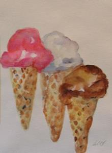Detail Image for art Three Ice Cream Cones-sold