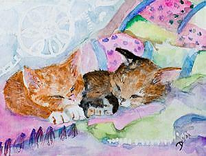 Art: Two Sleeping Kitten by Artist Delilah Smith