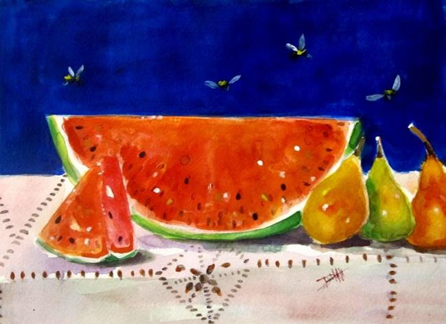 Art: Watermelon and Pears by Artist Delilah Smith