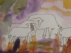 Detail Image for art Abstract Sheep-SOLD