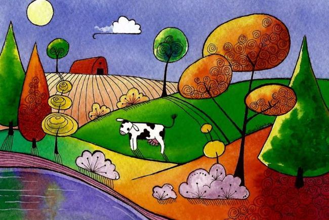 Art: The red barn by Artist Sandra Willard