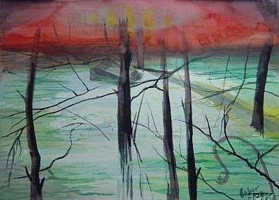 Art: Flood on Indian Creek by Artist Caroline Lassovszky Baker