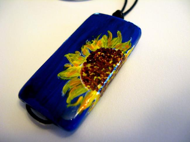 Art: Wrap-around Sunflower Pendant on Bamboo Tile - Sold by Artist Kathleen Ralph