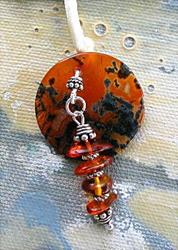 Art: Moss Agate and Amber Pendant by Artist Cathy  (Kate) Johnson