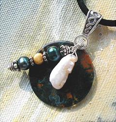 Art: Moss Agate and Pearl Pendant by Artist Cathy  (Kate) Johnson