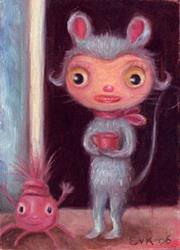 Art: Tea With Miss Mouse by Artist Vicky Knowles