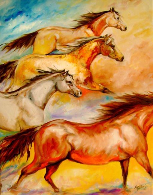 Art: MUSTANG RUN FOUR by Artist Marcia Baldwin