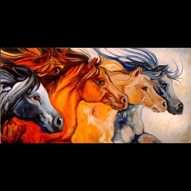 Art: 5 HORSE RUN by Artist Marcia Baldwin