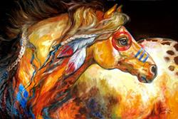 Art: INDIAN WAR HORSE the GOLDEN SUN by Artist Marcia Baldwin