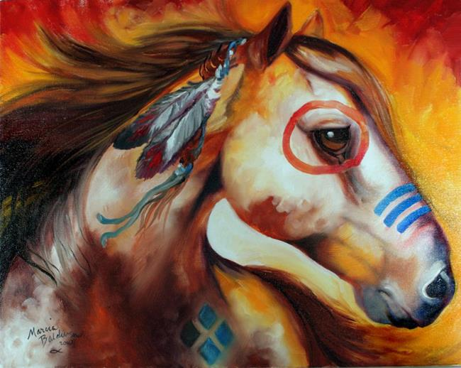 Art: WINDFIRE WARRIOR ~ INDIAN WAR PONY by Artist Marcia Baldwin