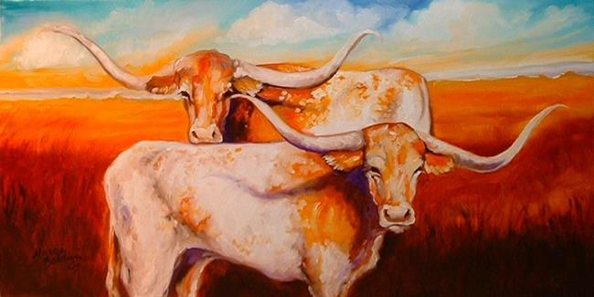 Art: LONGHORNS 2 by Artist Marcia Baldwin
