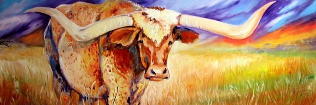 Art: TEXAS LONGHORN by Artist Marcia Baldwin