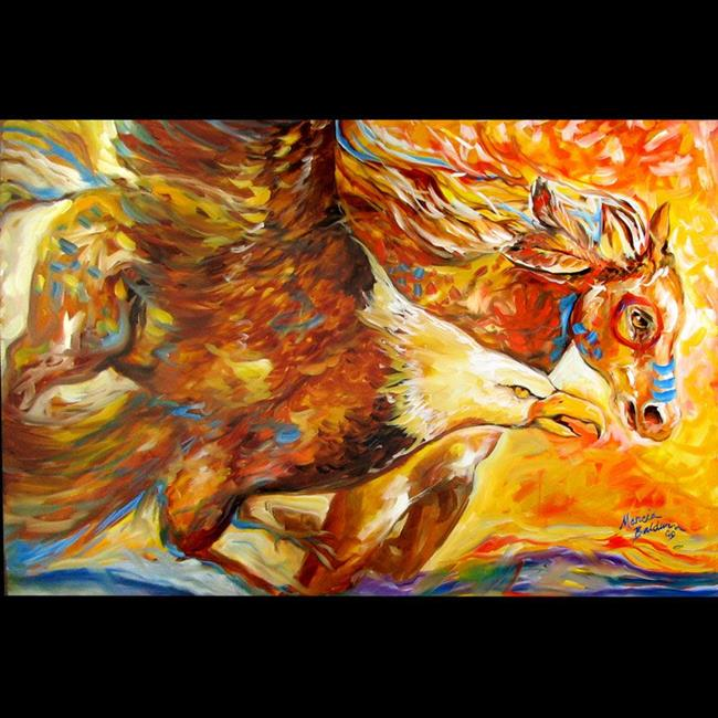 Art: EAGLE SPIRIT RUN WAR PONY by Artist Marcia Baldwin