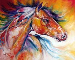 Art: Indian War Pony BLUE TAIL by Artist Marcia Baldwin