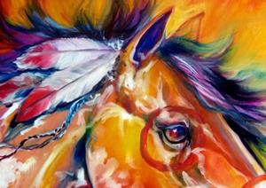 Detail Image for art Indian War Pony BLUE TAIL