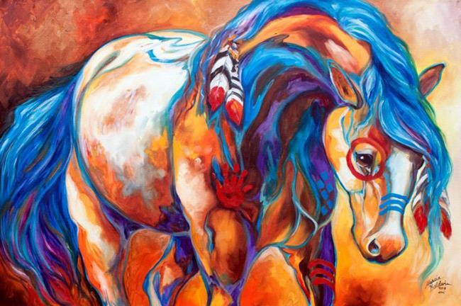 Art: MIDNIGHT RIDE Indian War Horse by Artist Marcia Baldwin