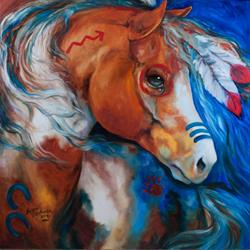 Art: BRAVEHEART WARRIOR INDIAN WAR HORSE by Artist Marcia Baldwin