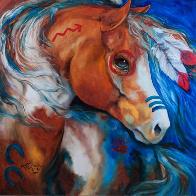 Art: BRAVEHEART WARRIOR INDIAN WAR HORSE by Artist Marcia Baldwin