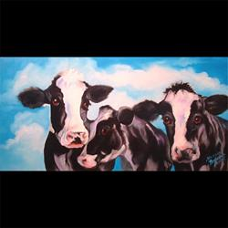 Art: Three Black&White Cows - SOLD to private collector April 2005 by Artist Marcia Baldwin