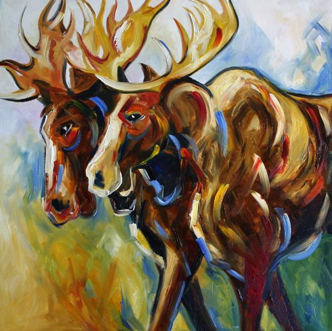 Art: Two Moose by Artist Laurie Justus Pace