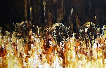 Art: Yellowstone Three Buffalo by Artist Laurie Justus Pace