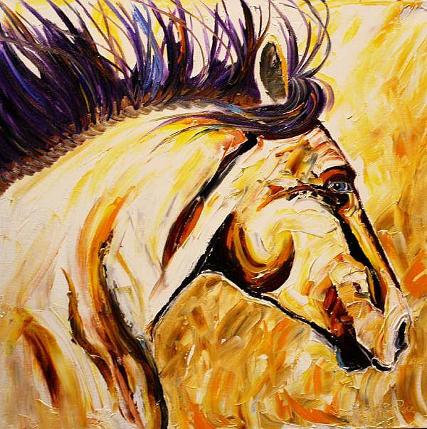 Art: The Outer Edge Second in the Series of Wild Horses by Artist Laurie Justus Pace