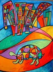 Art: Little Turtle in the Big City by Artist Chris Jeanguenat