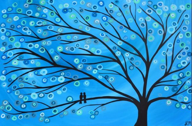 Art: Blue Two Birds in a Tree by Artist Louise Mead