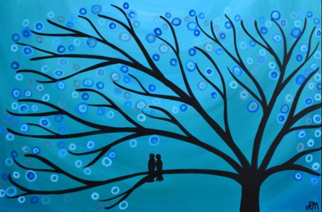 Art: Teal Two Birds in a Tree by Artist Louise Mead