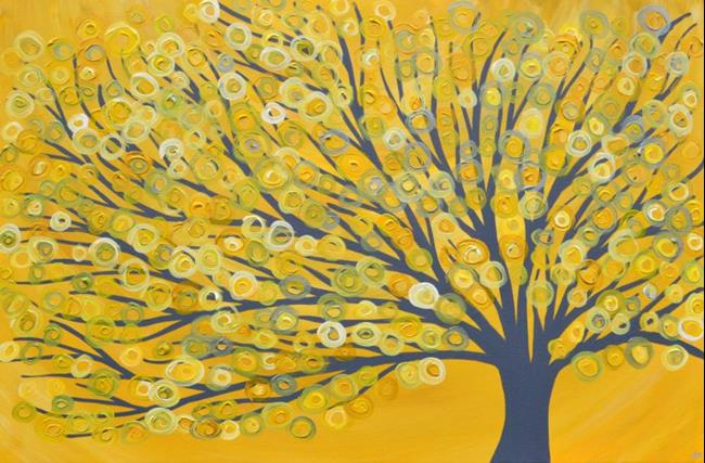 Art: Yellow & Grey Abstract Tree Painting by Artist Louise Mead