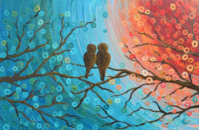 Art: Love Birds by Artist Louise Mead
