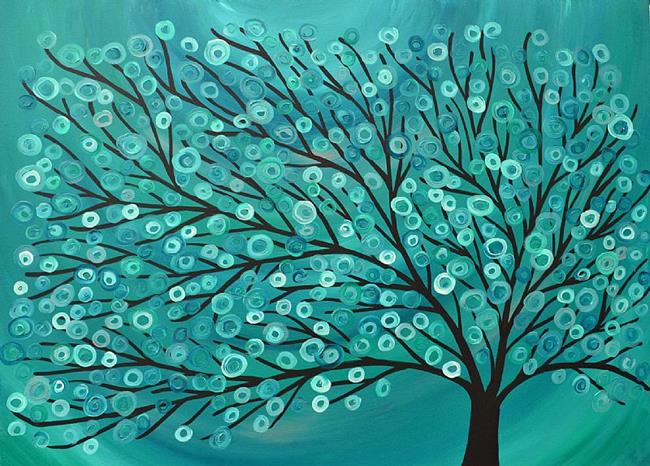 Art: Teal & Turquoise Tree by Artist Louise Mead