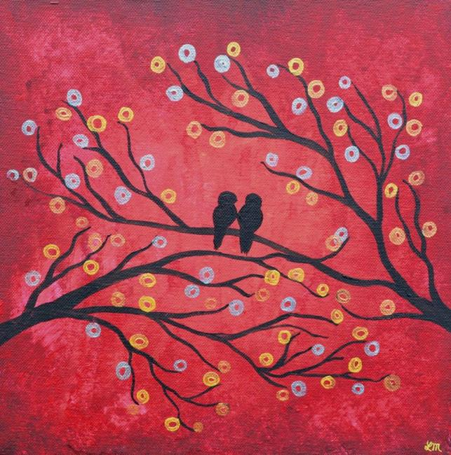 Art: Red Birds in a Tree Painting by Artist Louise Mead