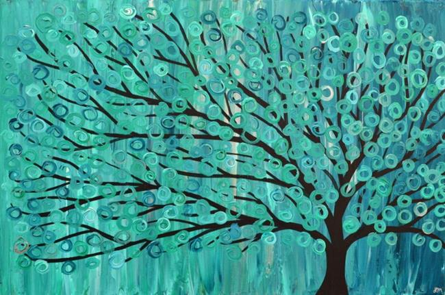 Art: Turquoise Abstract Whimsical Tree Painting by Artist Louise Mead