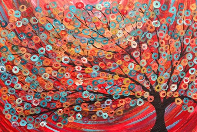 Art: Red Abstract Tree Painting Acrylic on Canvas by Artist Louise Mead