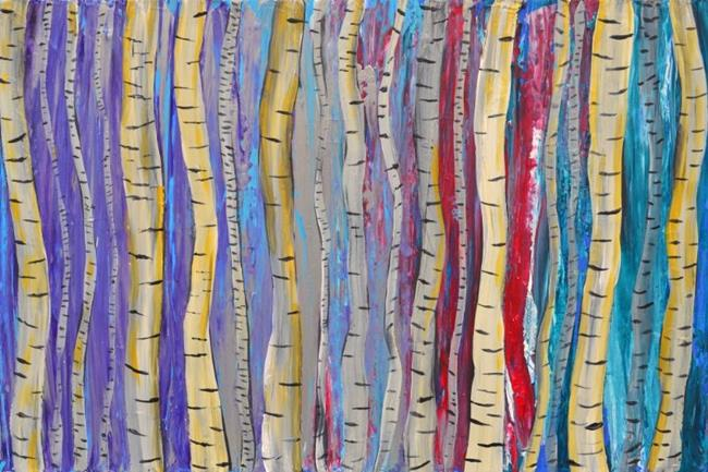 Art: Abstract Birch Tree Forest Painting by Artist Louise Mead