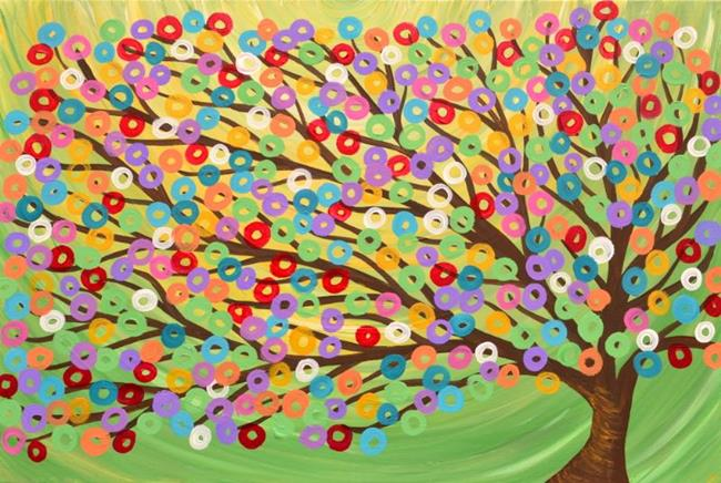 Art: Green colourful abstract tree painting by Artist Louise Mead