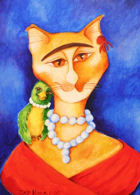 Art: Frida Kahlo Cat With Parrot by Artist Deb Harvey